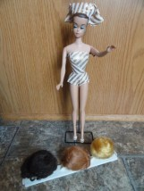 Vtg Mattel 1963 Fashion Queen Barbie Doll Wigs & Wig Stand Original Doll Stand