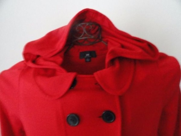 IZ Amy Byer Red Dress Dble Breasted Coat Hood Black Buttons Flounced Skirt L