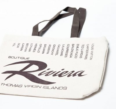 Vintage 1970's Riviera Boutique St. Thomas Virgin Island Canvas Tote Bag NWOT