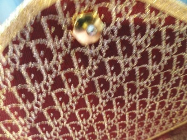 Vintage 70's Women's Christian Dior Burgandy & Gold Clutch Bag France.Preown