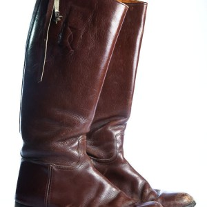 Vintage 1940's Men's Brown Leather Boots Equestrian Riding Size 8  Pre Owned