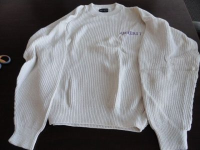Vtg  Amherst College Sweater Sportswear Beige Purple AMHERST 100% Cotton USA L