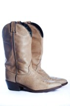 Vintage Men's Laredo Cowboy Boots Beige With Dark Brown Leather USA 8 D