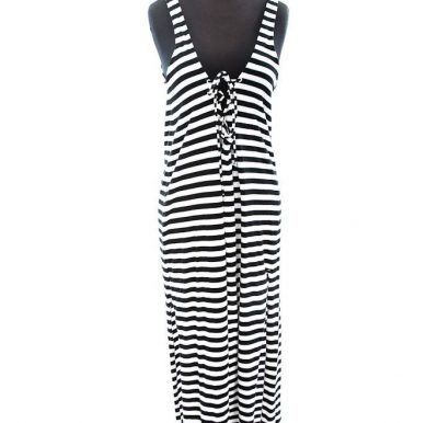 Vtg Women's Carol Little Swim Black & White Stripe Maxi Dress Lace Up Back L
