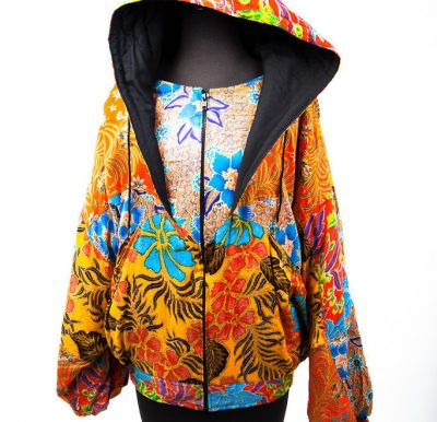 Women's De Gruchy Hand Made Jacket Indonesia 100% Rayon Flowers Bright Colors L