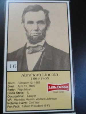 Vintage Little Debbie 1992 Presidential Trading Card #16 Abraham Lincoln  Mint