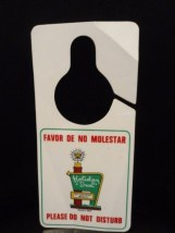 Vtg Holiday Inn SU ANFITRION MUNDIAL It's Global Host DO NOT DISTRUB SIGN MEXICO