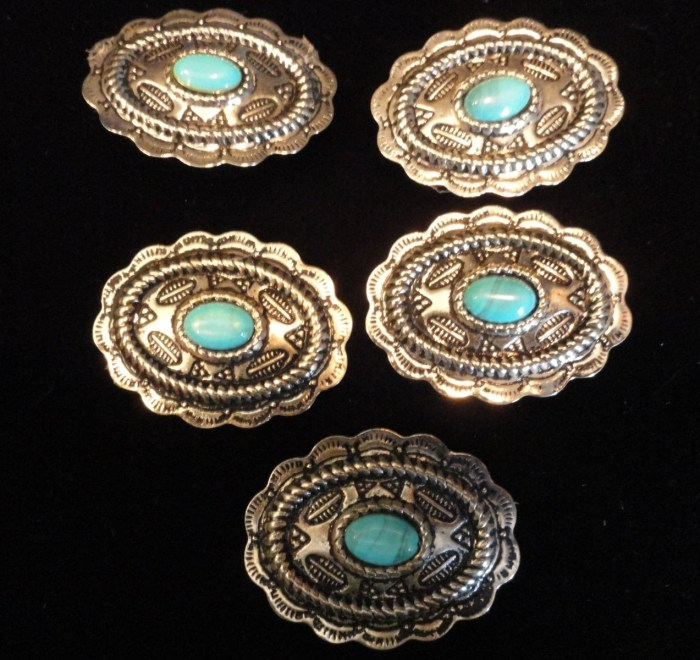 Vtg 5 Silver Tone Turquoise Southwesterm Button Covers NWOT 1 1/4 x 1 3/4