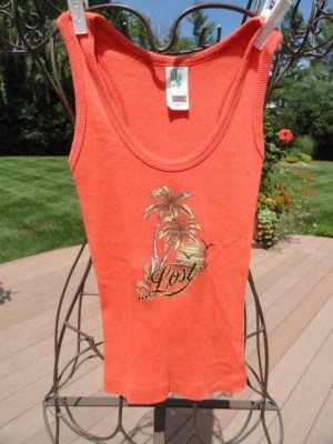 Lost Girl Orange Tank Top With Logo 100% Ribbed Cotton Small Cut Out Back NWOT