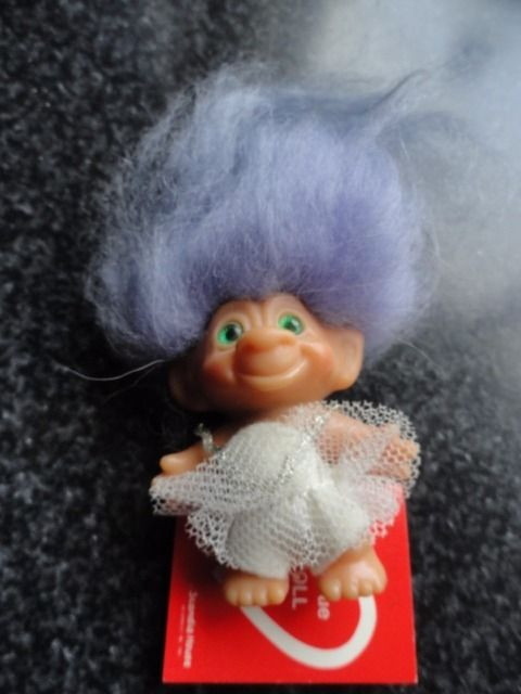 Vtg 1965 Scandia House Ballerina Troll Doll Green Eyes Lavender Hair Red  Card