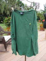 Polo Ralph Lauren Green Long Sleeve Shirt Yellow Logo Large Preowned Ex Cond