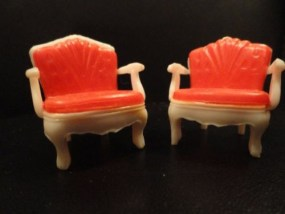 """Vintage 1960's Doll House Furniture Plastic """"Upholstered"""" Arm Chairs """"E"""" Brand"""