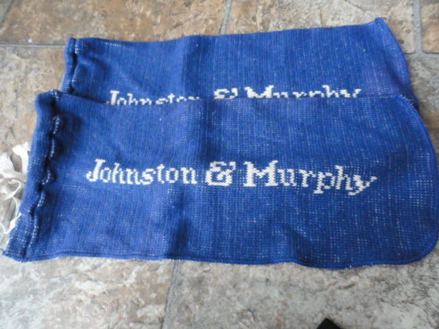 """Vintage Johnson & Murphy Blue & White Cloth Shoe Bags White Pull Ties New 3""""x7"""""""