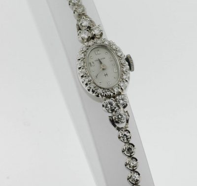 Vintage Lady's Diamond Hamilton Wristwatch 14K White Gold Color G-H Weight 2.