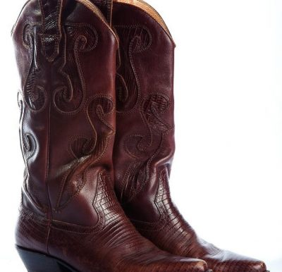 Vintage Women's Brown Leather Cowboy Snake Skin Pattern Boots 5M Brazil H-Ronee