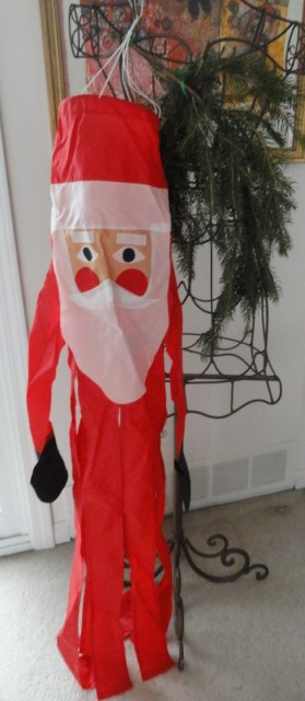 Santa Claus Christmas Nylon Windsock Spinner Indoors Outdoors