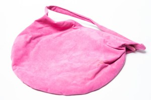 Vintage Hot Pink REVA Ultra Suede Shoulder Bag in half moon shape