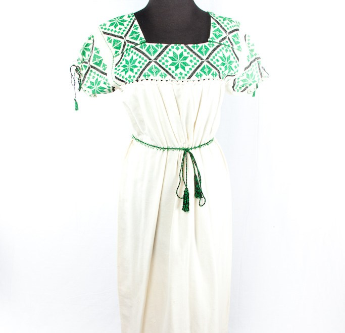 Mexican Handmade Embroidered Maxi Boho Dress Vintage Mexican Maxi Dress 1973