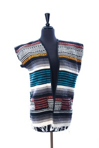 Handwoven Cotton Poncho Vest Made In Mexico Casa Lopez Vintage 1973