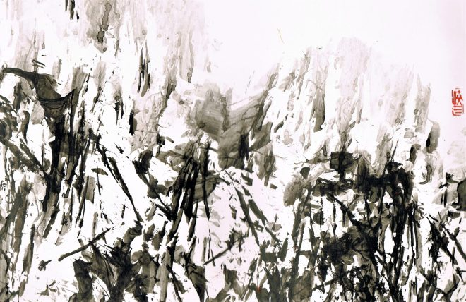 dreamscape #3, ink on glossy paper