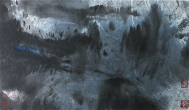 moonlit landscape painting on rice paper