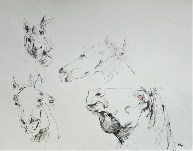 four heads of horses
