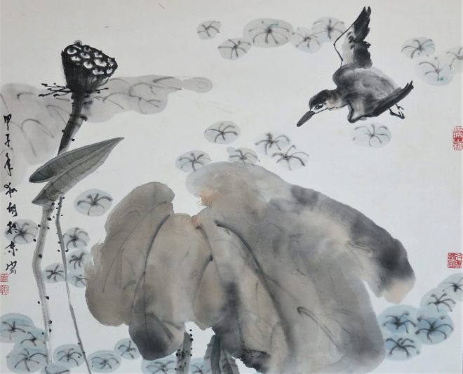 bird and lotus ink on rice paper
