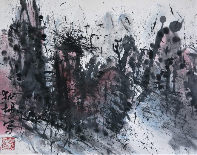 expressionist landscape ink on paper