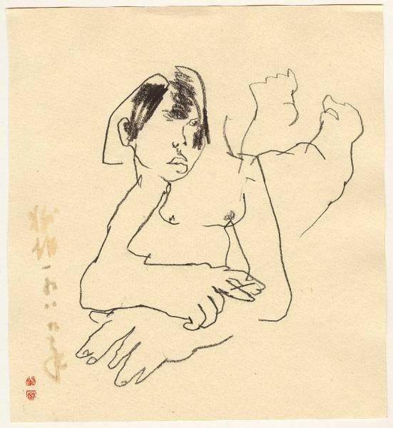 charcoal drawimg of a lying girl