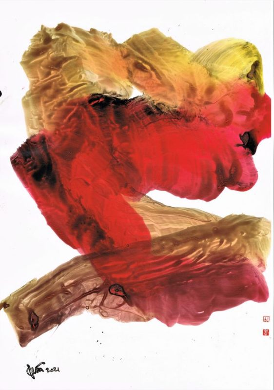 abstract graphic ink on glossy paper