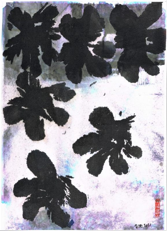 graphic with abstraction of flowers and snow