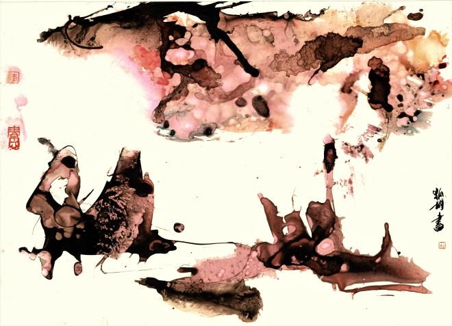landscape in pink ink on paper