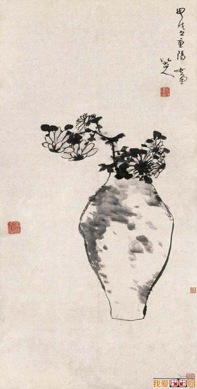chrysenthemum in vase by zhu da