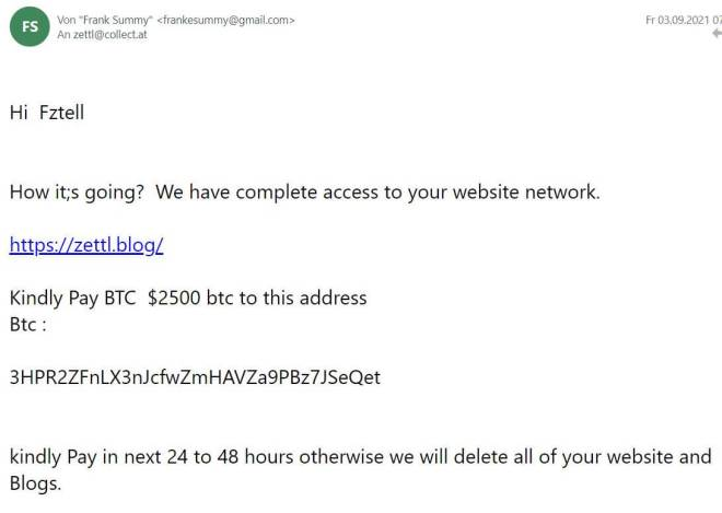 email by hacker