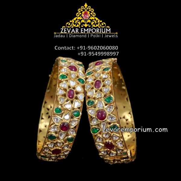 Uncut, rubies and emerald studded polki bangle pair