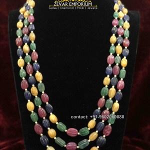 Navaratna Natural carved Nuggets Beads 3 string Multilayered Necklace