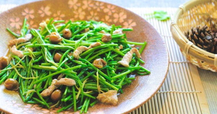 客家野菜:樹子炒水蓮