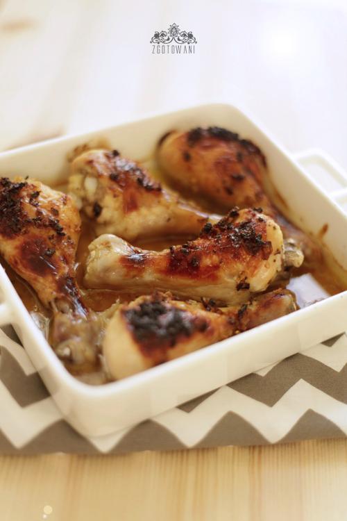 Udka kurczaka zapiekane w miodzie z imbirem