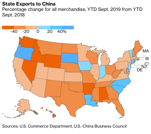 Here Are The States Where Trump Trade War Is Hammering China Exports
