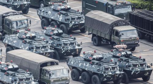 Chinese Paramilitary Troops, Tanks Hold Threatening Exercises At Shenzen Sports Stadium