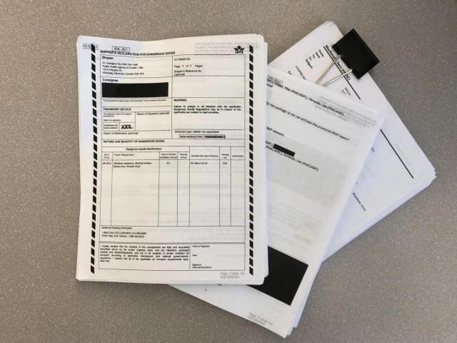 CBC News received hundreds of pages of documents through an Access to Information request, detailing a shipment of Ebola and Henipah viruses sent from the National Microbiology Lab in Winnipeg, to the Wuhan virology lab in China. (Karen Pauls/CBC News)