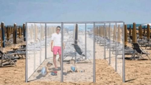 "Italian Beachtowns Plan ""Plexiglass Cages"" To Enforce Safe-Sunbathing This Summer"