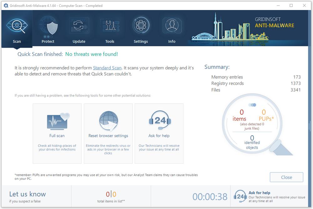 Gridinsoft Anti-Malware quick scan result
