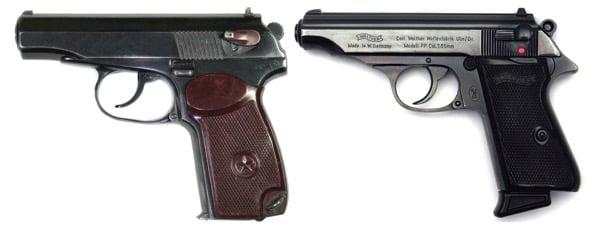 Пистолет Макарова и Вальтер ППК