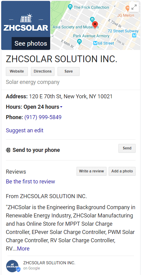 zhcsolar on google business