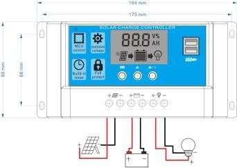 Solar Charge Controller With LCD Dual USB Solar Cell Panel 8