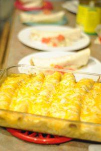 enchiladas in the kitchen