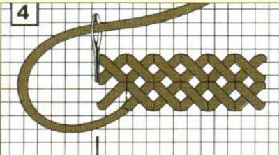 Set per cuscino a punto lungo con motivo a blocchi e strisce Vervaco