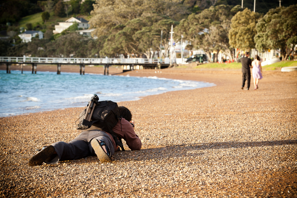 Getting down low on a pre-wedding shoot in Russell