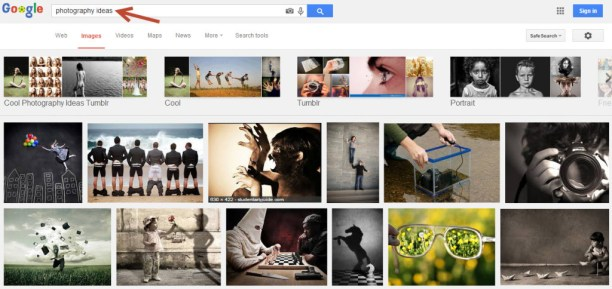"Typing ""photography ideas"" into google images gives you nicely categorised ideas for your next photography project!"
